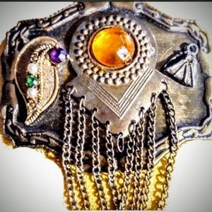Hand Decorated Jeweled Belt Buckle  Gold &…